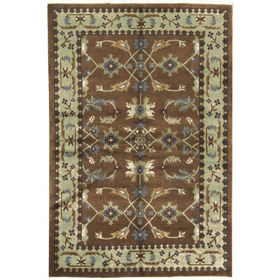 One-of-a-Kind Tibetan Hand-Woven Wool Brown/Light Green Area Rug