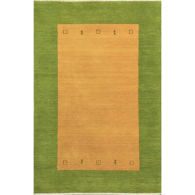 One-of-a-Kind Gabbeh Hand-Woven Wool Green/Yellow Area Rug
