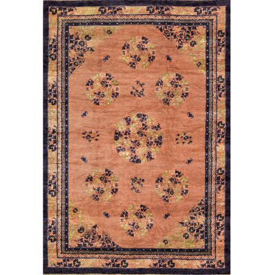 Chinese Hand-Woven Wool Peach/Ivory Area Rug