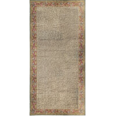 One-of-a-Kind Hand-Woven Wool Beige/Red Area Rug