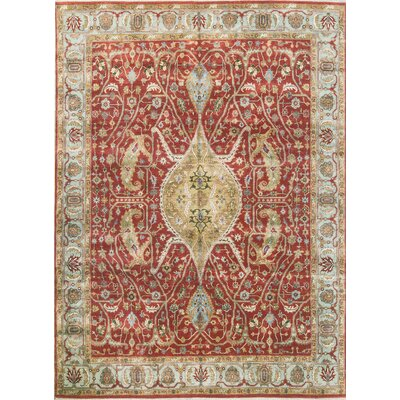 One-of-a-Kind Hand-Woven Rust/Light Blue Area Rug