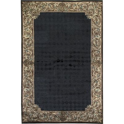 One-of-a-Kind Himalayan Hand-Woven Wool Black/Brown Area Rug