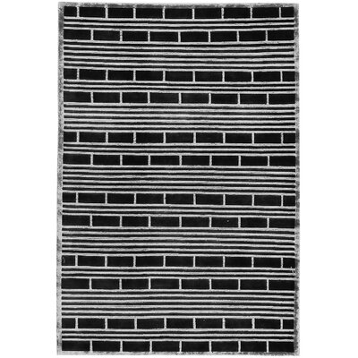 One-of-a-Kind Himalayan Hand-Woven Wool Black/White Area Rug