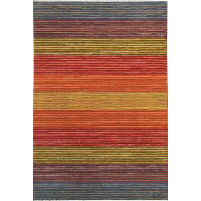 One-of-a-Kind Gabbeh Hand-Woven Wool Blue/Red/Yellow Area Rug
