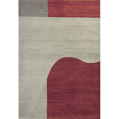 Tibetan Hand-Woven Wool Light Gray/Violet Area Rug