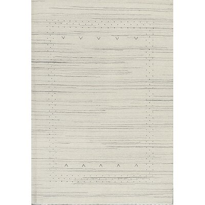 One-of-a-Kind Gabbeh Hand-Woven Wool Ivory Area Rug