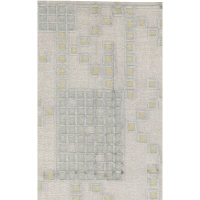 One-of-a-Kind Himalayan Hand-Woven Linen Beige/Green Area rug