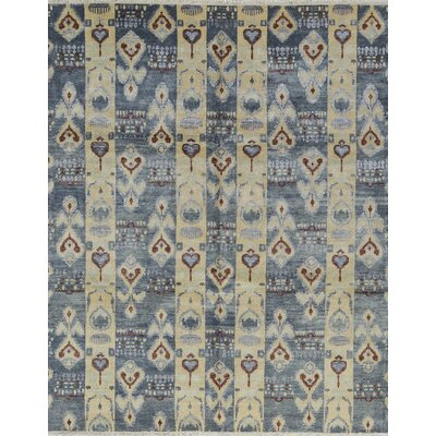 One-of-a-Kind Ikatville Hand-Woven Wool Blue/Beige Area Rug