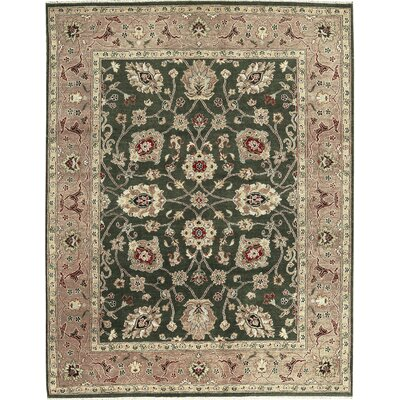 One-of-a-Kind Hand-Woven Wool Green/Camel Area Rug