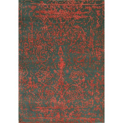 One-of-a-Kind Himalayan Hand-Woven Red/Green Area Rug