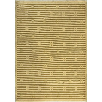 One-of-a-Kind Tibetan Hand-Woven Wool Beige/Green Area Rug