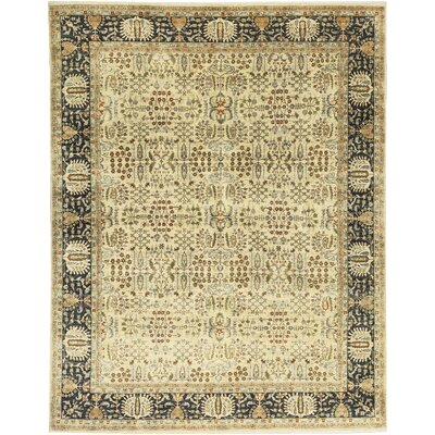 One-of-a-Kind Signature Hand-Woven Wool Ivory/Black Area Rug
