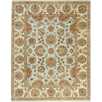 One-of-a-Kind Mountain Hand-Woven Wool Light Blue/Ivory Area Rug