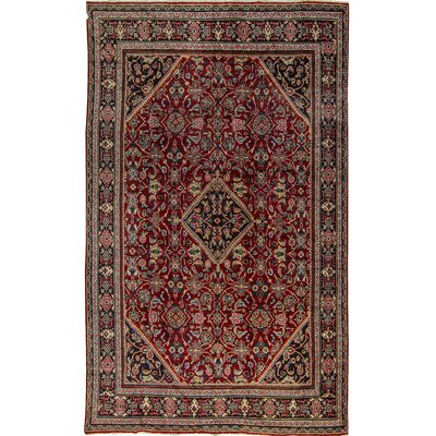 One-of-a-Kind Royal Diamond Hand-Woven Wool Rust/Black Area Rug