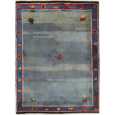 One-of-a-Kind Indo Shallow Waters Hand-Woven Wool Blue Area Rug