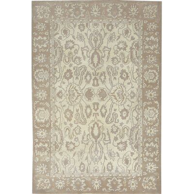 One-of-a-Kind Himalayan Hand-Woven Wool Ivory Area Rug