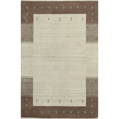 One-of-a-Kind Gabbeh Hand-Woven Wool Beige/Brown Area Rug