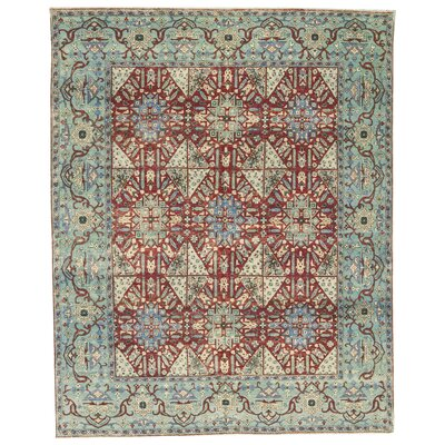 Bakshahesh Hand-Woven Wool Light Blue/Red Area Rug