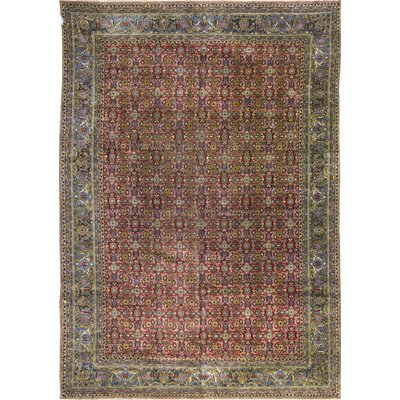 One-of-a-Kind Hand-Woven Wool Yellow/Red/Green Area Rug