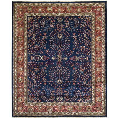 One-of-a-Kind Mahajaran Hand-Woven Wool Navy/Red Area Rug