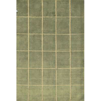 One-of-a-Kind Tibetan Hand-Woven Wool Green Area Rug