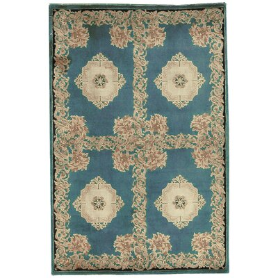 One-of-a-Kind Hand-Woven Wool Blue/Ivory Area Rug