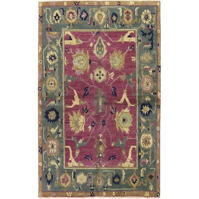 Tibetan Wool Burgundy/Green Area Rug