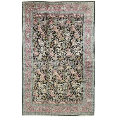 One-of-a-Kind Hand-Woven Silk Pink/Green/Black Area Rug