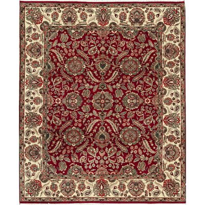 One-of-a-Kind Mahajaran Hand-Woven Wool Red/Green Area Rug