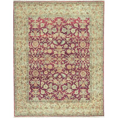 One-of-a-Kind Mountain Hand-Woven Wool Pink/Green Area Rug