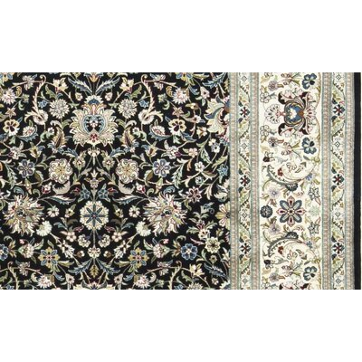 One-of-a-Kind Worsted Wool Hand-Woven Wool Black/Ivory Area Rug