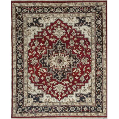 One-of-a-Kind Templetion Hand-Woven Wool Red/Blue Area Rug