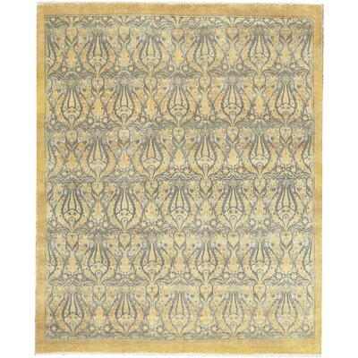 One-of-a-kind Hand-knotted Worsted Wool Gold Area Rug