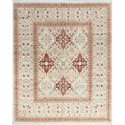 One-of-a-Kind Hand-Woven Worsted Wool Cream Area Rug