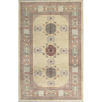One-of-a-Kind Pak Hand-Woven Wool Beige/Red Area Rug
