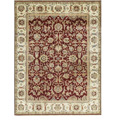 One-of-a-Kind Sona Royal Hand-Woven Wool Red/Cream Area Rug