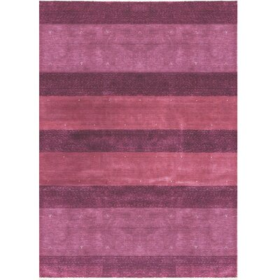 One-of-a-Kind Gabbeh Hand-Woven Wool Plum Area Rug
