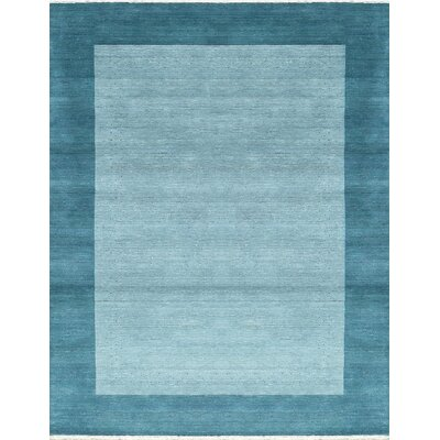 One-of-a-Kind Gabbeh Hand-Woven Wool Aqua Area Rug