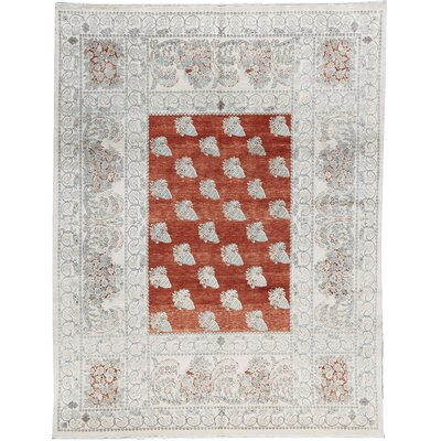 One-of-a-Kind Hand-Woven Wool Rust/Cream Area Rug