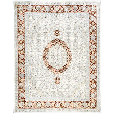 One-of-a-Kind Hand-Woven Wool Ivory/Rust Area Rug
