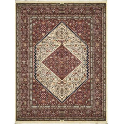 One-of-a-Kind Hand-Woven Wool Ivory/Navy Area Rug