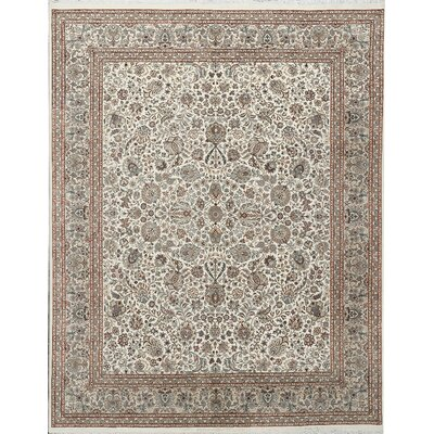 One-of-a-Kind Hand-Woven Wool Ivory/Peach Area Rug