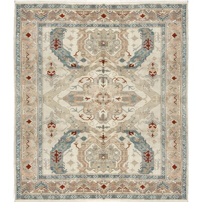 One-of-a-Kind Hand-Woven Wool Beige/Blue Area Rug