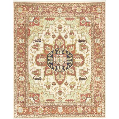 One-of-a-Kind Templetion Hand-Woven Wool Ivory/Red Area Rug