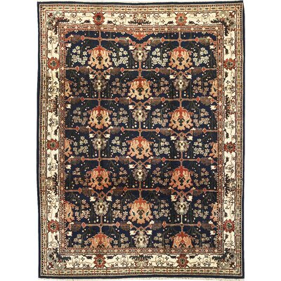 One-of-a-Kind Sino Hand-Woven Wool Navy/Cream Area Rug