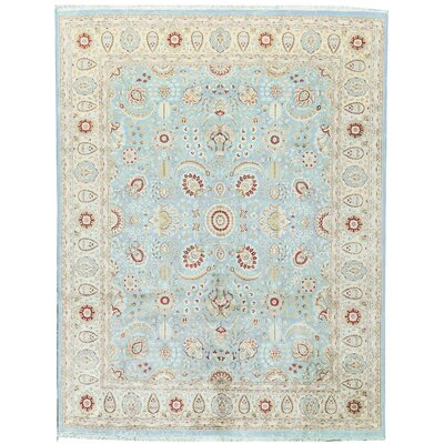 One-of-a-Kind Hand-Woven Wool Teal/Ivory Area Rug