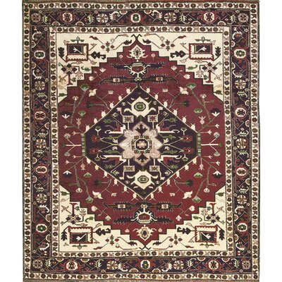 One-of-a-Kind Gabbeh Hand-Woven Wool Wine/Beige Area Rug