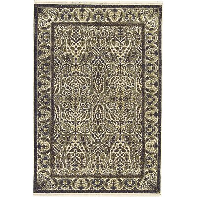One-of-a-Kind Hand-Woven Wool Cream/Green Area Rug
