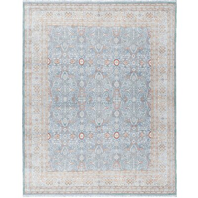 One-of-a-Kind Hand-Woven Wool Blue/Cream Area Rug
