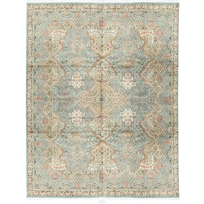 One-of-a-Kind Hand-Woven Worsted Wool Light Blue Area Rug